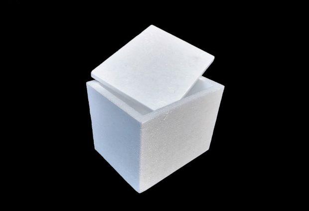 Contenitore di polistirolo per uso alimentare.